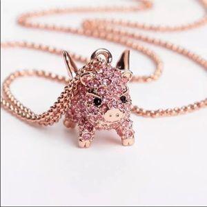 New Kate Spade imagination pink pig necklace